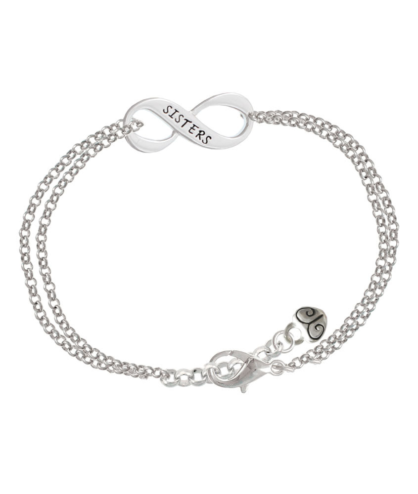 Silver plated infinity symbol double chain bracelet 65 75 inches silver plated infinity symbol double chain bracelet 65 75 inches long personalize your biocorpaavc Image collections