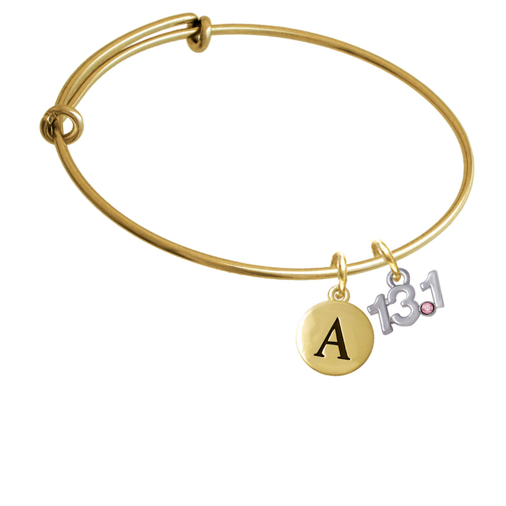 Half Marathon - 13.1 with Pink Crystal Gold Tone Initial Charm Expandable Bangle Bracelet BR-C4956-PebbleInitial-F2084-GP