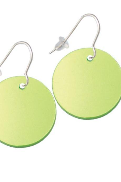 Acrylic 1' Disc Lime Green Imitation Pearl French Earrings