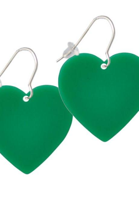 Acrylic 1' Green Heart French Earrings