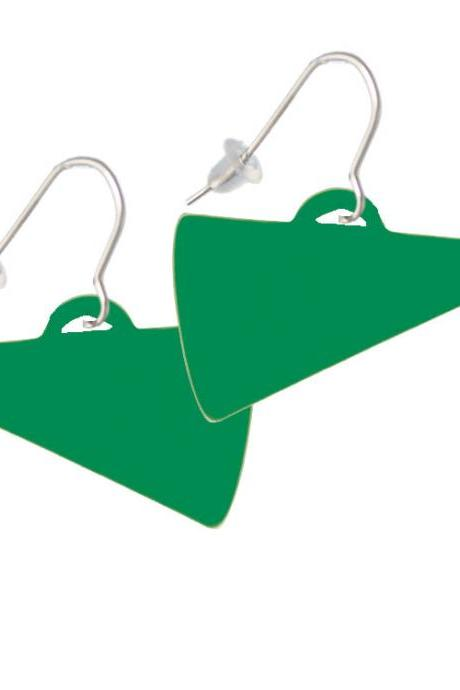 Acrylic 1.25' Green Megaphone French Earrings