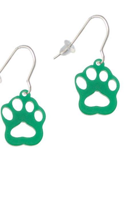 Acrylic Small Paw Green French Earrings