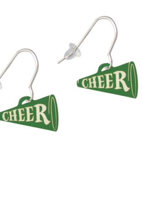 Acrylic 3/4' Green Cheer Megaphone French Earrings