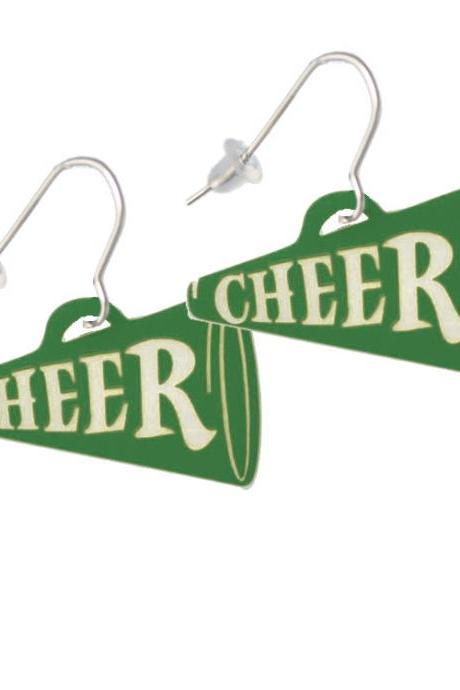 Acrylic 1.25' Green Cheer Megaphone French Earrings