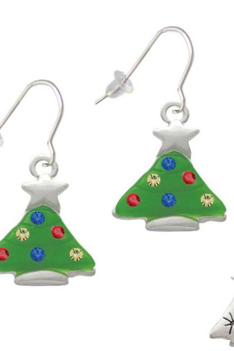 Green Resin Christmas Tree with Crystals French Earrings