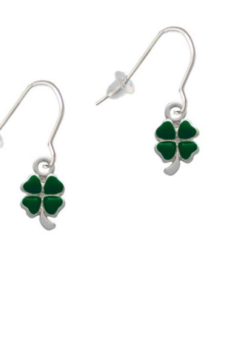 Mini Green Four Leaf Clover with Heart Leaves French Earrings