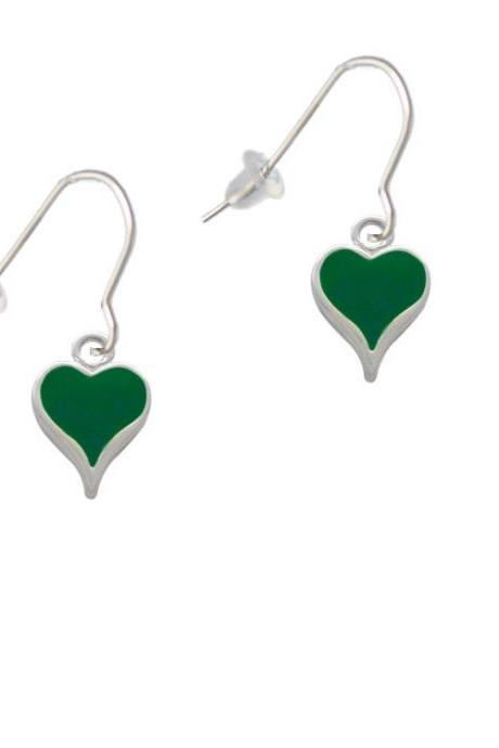Small Long Green Heart French Earrings