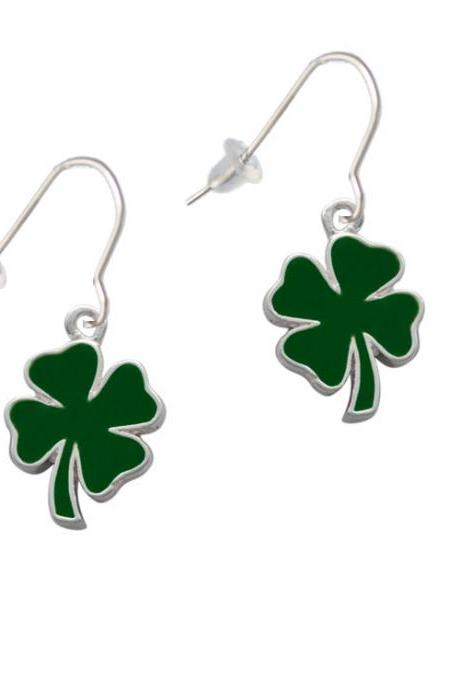 Two Sided Green Enamel Lucky Four Leaf Clover French Earrings