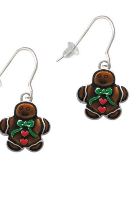 Gingerbread Boy with Bow French Earrings