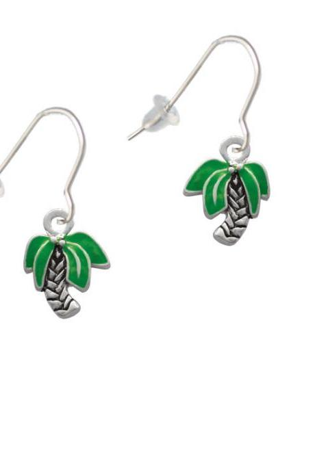 Mini Enamel Palm Tree French Earrings