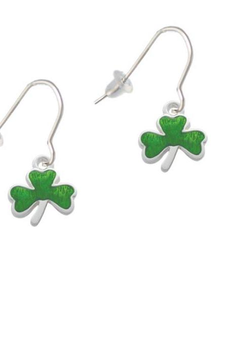 Translucent Green Shamrock French Earrings