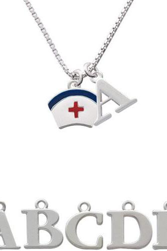 Nurse Hat Initial Charm Necklace NC-C1057-SPInitial-F1578