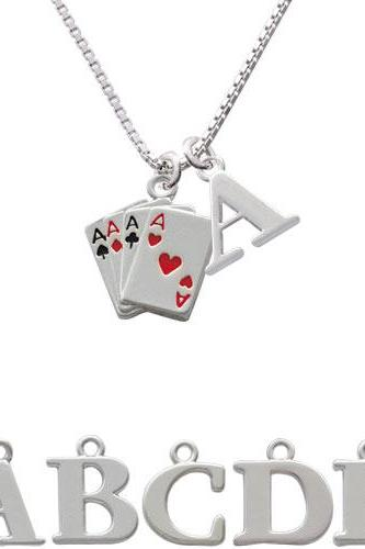 Aces Card Hand Initial Charm Necklace NC-C1253-SPInitial-F1578