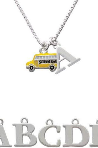 School Bus - Side Initial Charm Necklace NC-C1262-SPInitial-F1578