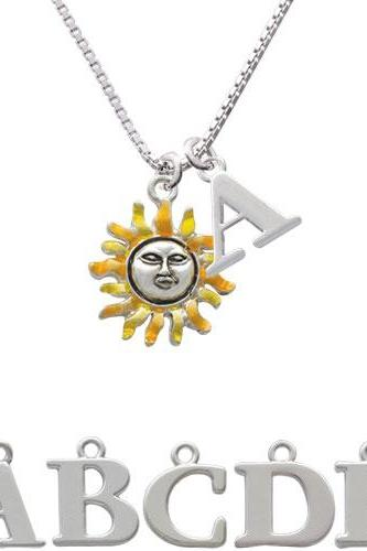 Enamel Sun Initial Charm Necklace NC-C2434-SPInitial-F1578