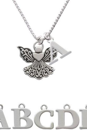 Angel with Heart Initial Charm Necklace NC-C2520-SPInitial-F1578