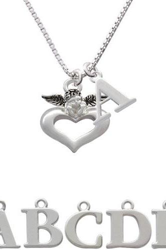 Guardian Angel over Heart Initial Charm Necklace NC-C2706-SPInitial-F1578