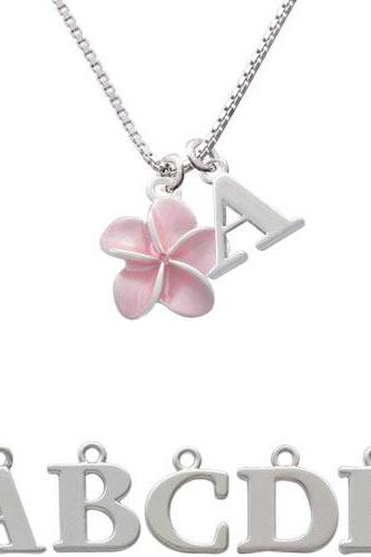 Pink Plumeria Flower Initial Charm Necklace NC-C3260-SPInitial-F1578