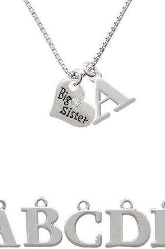 Small ''Big Sister'' Heart with Clear Crystal Initial Charm Necklace NC-C3556-SPInitial-F1578