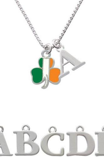 2-D Irish Flag Shamrock Initial Charm Necklace NC-C3682-SPInitial-F1578