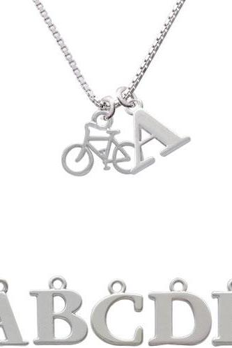Small Bicycle Initial Charm Necklace NC-C4168-SPInitial-F1578