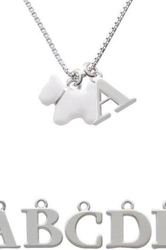 White Westie Dog Initial Charm Necklace NC-C4176-SPInitial-F1578