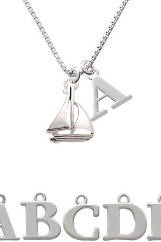 Antiqued Sailboat Initial Charm Necklace NC-C4453-SPInitial-F1578