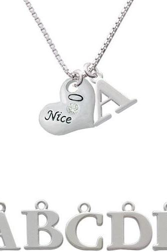 Naughty or Nice Heart with Crystals Initial Charm Necklace NC-C4730-SPInitial-F1578