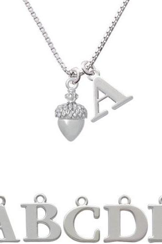 Small Acorn with Crystals Initial Charm Necklace NC-C4826-SPInitial-F1578