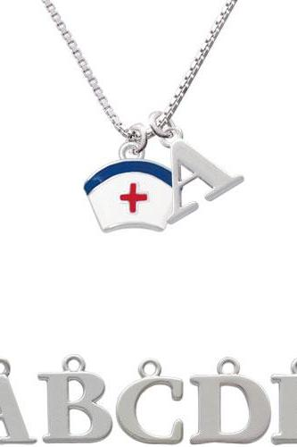 Enamel Nurse Hat - 2 Sided Initial Charm Necklace NC-C4828-SPInitial-F1578