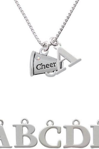 Cheer Megaphone with AB Crystal - 2 Sided Initial Charm Necklace NC-C4833-SPInitial-F1578