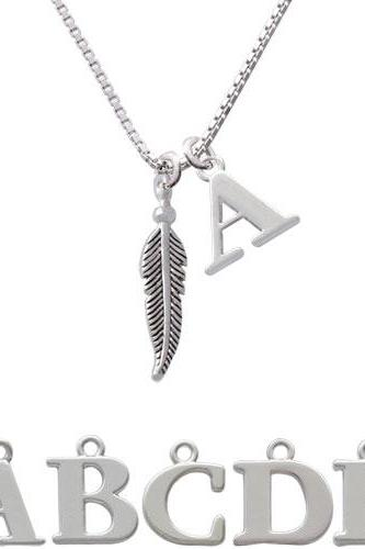 Small 3-D Feather Initial Charm Necklace NC-C4901-SPInitial-F1578