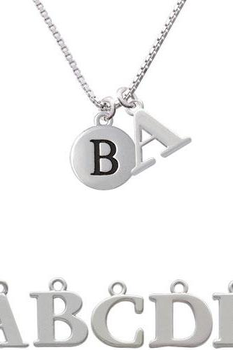 Capital Letter - B - Pebble Disc - Initial Charm Necklace NC-C5126-SPInitial-F1578