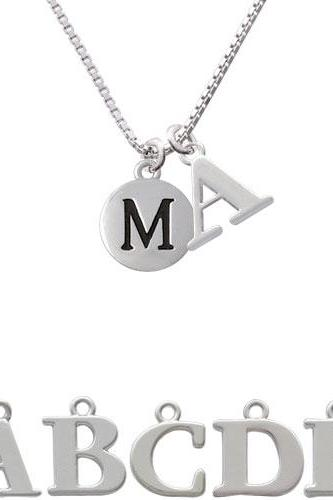 Capital Letter - M - Pebble Disc - Initial Charm Necklace NC-C5137-SPInitial-F1578