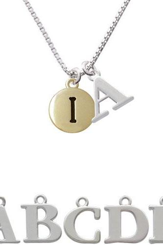 Capital Gold Tone Letter - I - Pebble Disc - Initial Charm Necklace NC-C5160-SPInitial-F1578