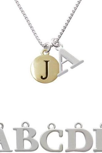 Capital Gold Tone Letter - J - Pebble Disc - Initial Charm Necklace NC-C5161-SPInitial-F1578