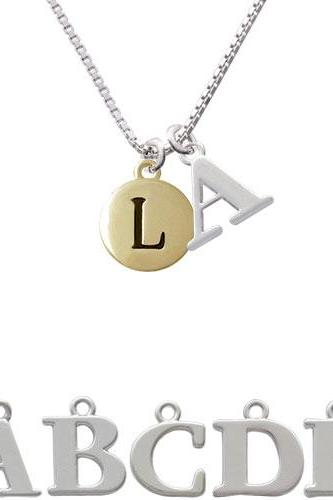 Capital Gold Tone Letter - L - Pebble Disc - Initial Charm Necklace NC-C5163-SPInitial-F1578