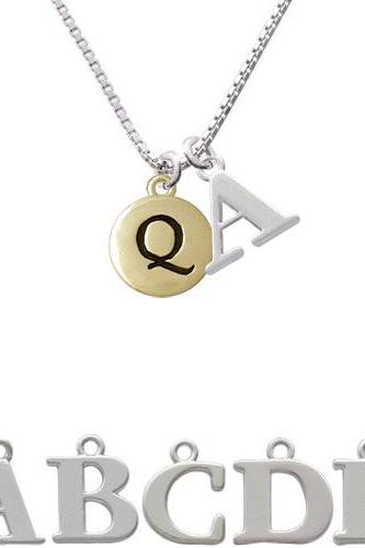 Capital Gold Tone Letter - Q - Pebble Disc - Initial Charm Necklace NC-C5168-SPInitial-F1578