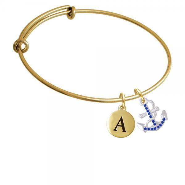 Blue Crystal Anchor Gold Tone Initial Charm Expandable Bangle Bracelet BR-C5535-PebbleInitial-F2084-GP