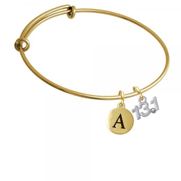 Half Marathon - 13.1 with Clear AB Crystal Gold Tone Initial Charm Expandable Bangle Bracelet BR-C4955-PebbleInitial-F2084-GP